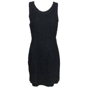 Laurence Kazar Sleeveless Black Beaded Silk Dress